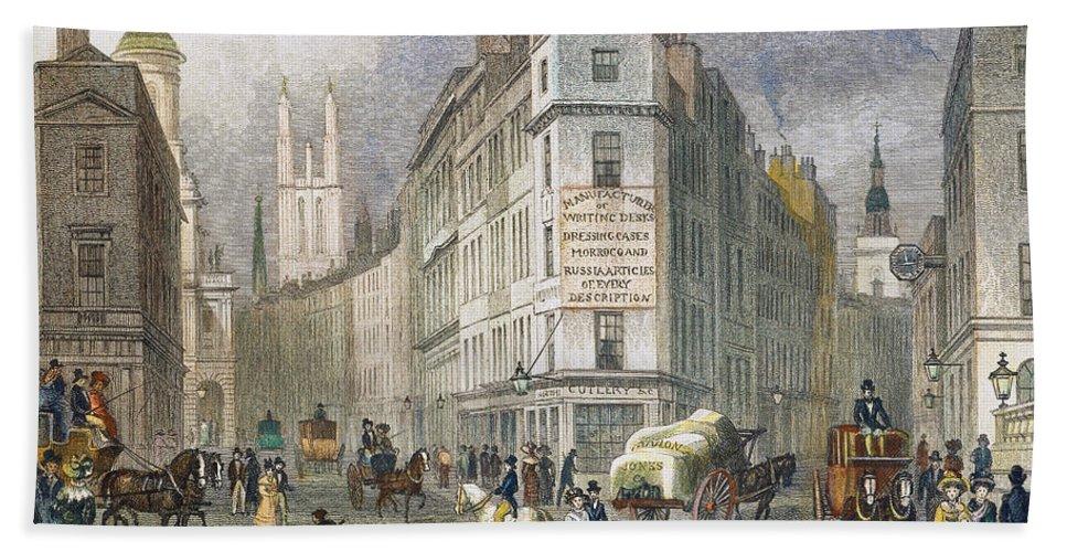 1830 Bath Sheet featuring the photograph London: Street Scene, 1830 by Granger