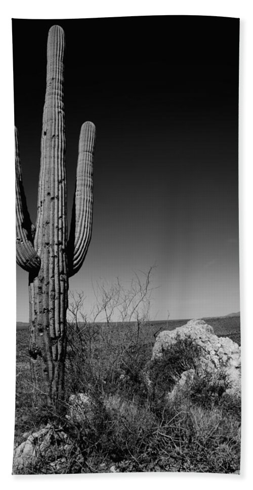 Lone Saguaro Hand Towel featuring the photograph Lone Saguaro by Chad Dutson