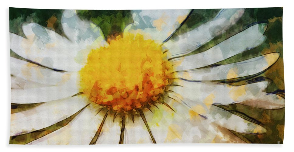Photo Hand Towel featuring the photograph Lonely Daisy by Jutta Maria Pusl