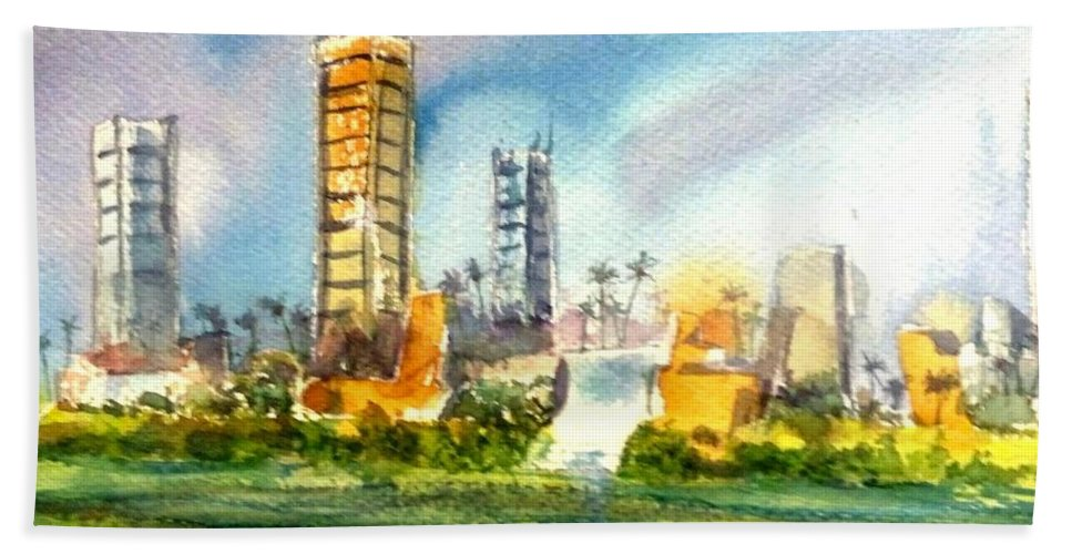 Long Beach Hand Towel featuring the painting Long Beach Oil Islands by Debbie Lewis