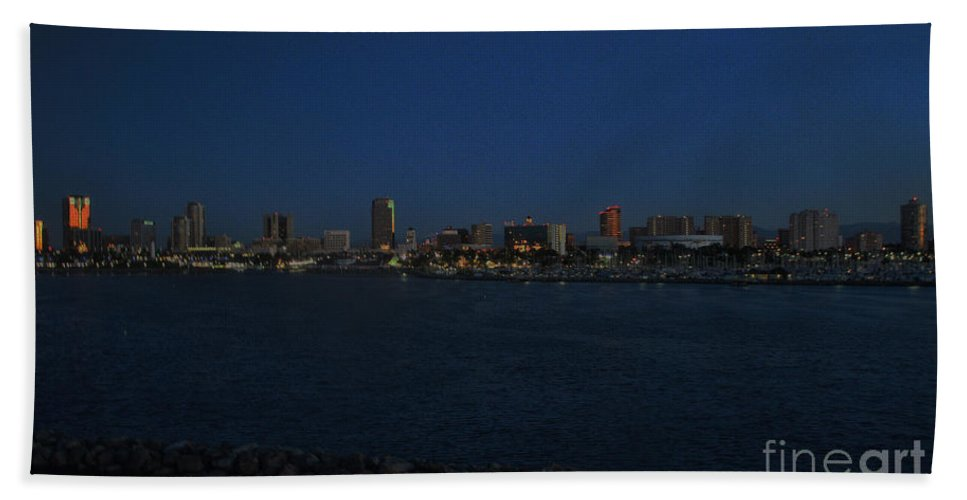 Long Beach Bath Sheet featuring the photograph Long Beach Skyline At Night by Tommy Anderson