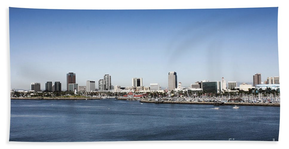 Long Beach Harbor Bath Sheet featuring the photograph Long Beach Skyline by Tommy Anderson