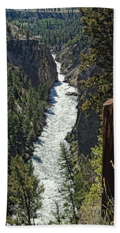 Yellowstone National Park Bath Sheet featuring the photograph Long River View by Jon Berghoff