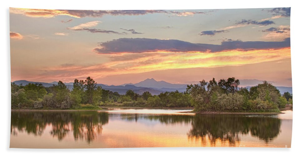 'longs Peak' Bath Sheet featuring the photograph Longs Peak Evening Sunset View by James BO Insogna