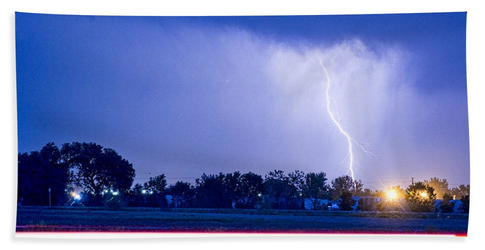 weather Photography' Bath Sheet featuring the photograph Looking East Lightning Strike by James BO Insogna