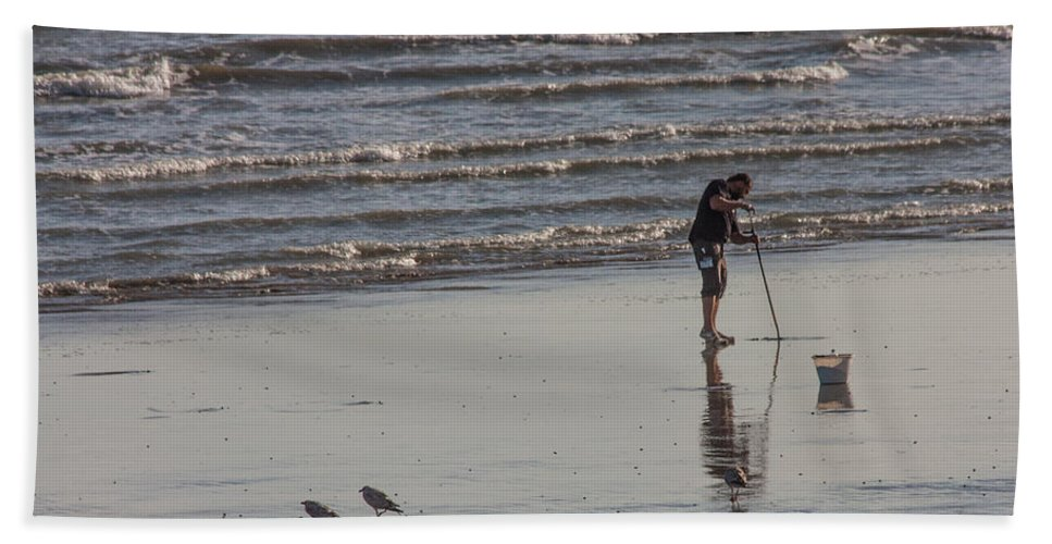 Beach Hand Towel featuring the photograph Looking For Lugworm by Dawn OConnor
