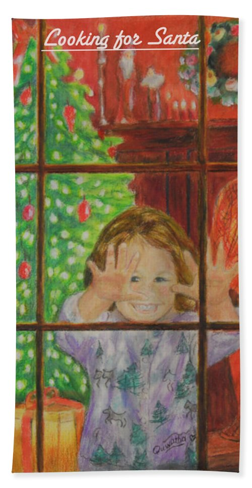 Christmas Card Bath Towel featuring the drawing Looking for Santa by Quwatha Valentine