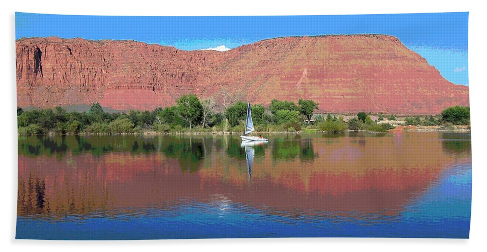 Sailboat Bath Sheet featuring the photograph Reflections Of Ivins, Ut by Patricia Haynes
