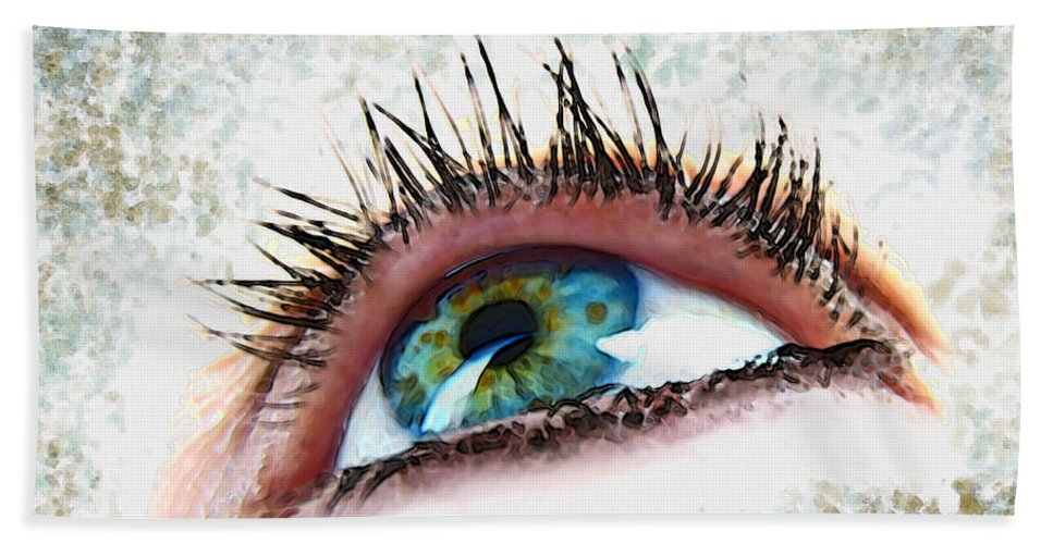 People Bath Sheet featuring the photograph Looking Up Eye Art by Debbie Portwood