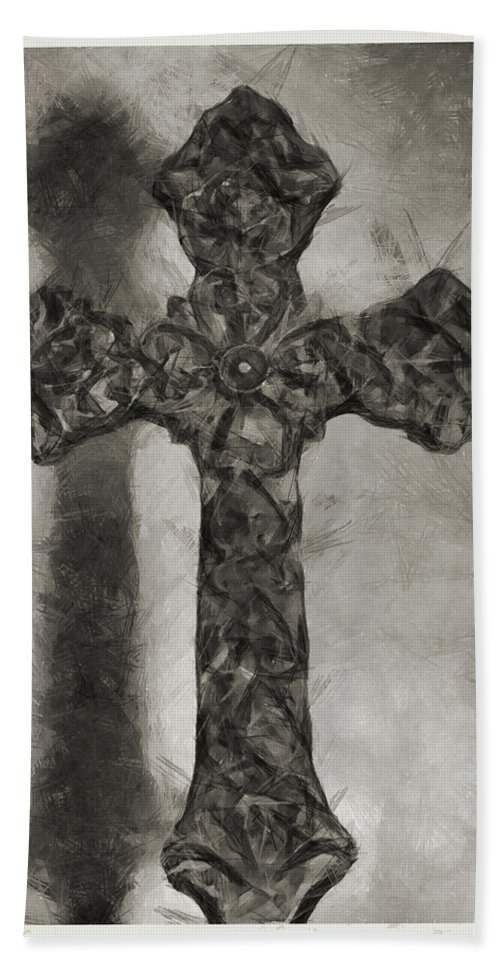 Faith Hand Towel featuring the mixed media Lord Have Mercy 4 by Angelina Tamez