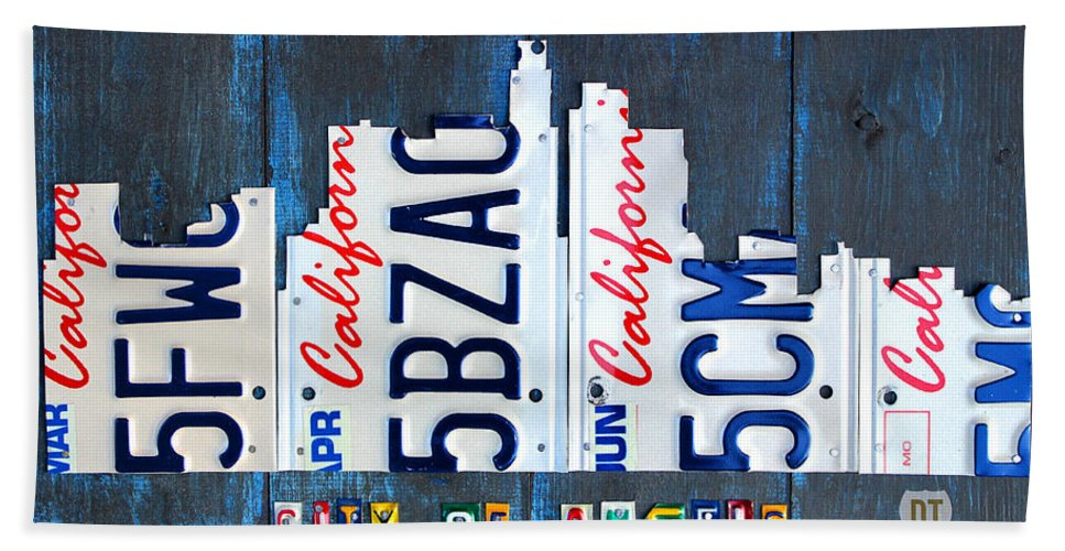 California Hand Towel featuring the mixed media Los Angeles Skyline License Plate Art by Design Turnpike