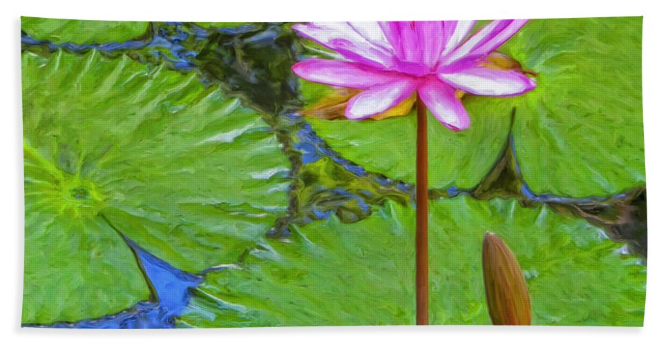 Lotus Hand Towel featuring the painting Lotus Blossom And Water Lily Pads by Dominic Piperata