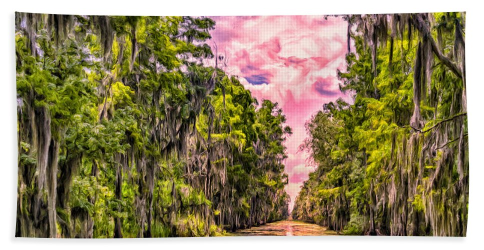 Louisiana Hand Towel featuring the painting Louisiana Bayou Sunrise by Dominic Piperata