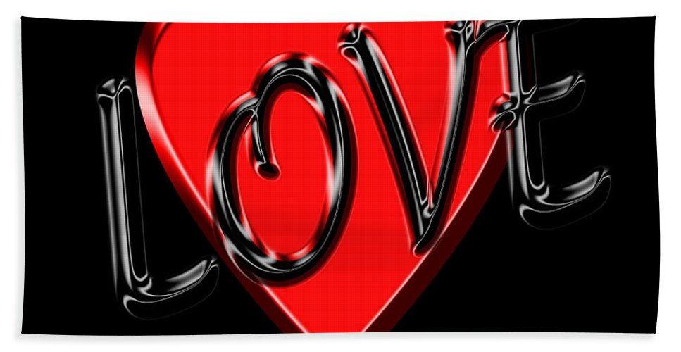 Love Hand Towel featuring the photograph Love Black And Red 1 by Andrew Fare
