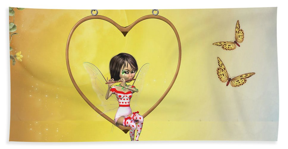 Love Fairy Bath Sheet featuring the digital art Love Fairy by John Junek