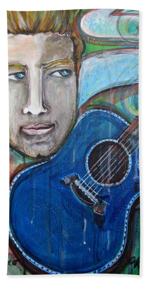Laurie Maves Art Bath Sheet featuring the painting Love For Blue Guitar by Laurie Maves ART