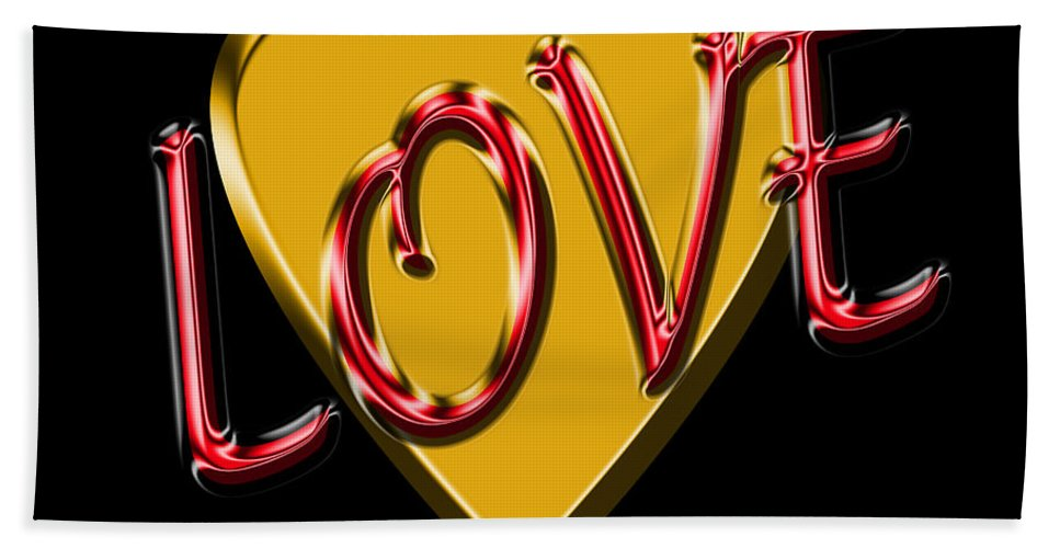 Love Hand Towel featuring the digital art Love Gold And Red by Andrew Fare