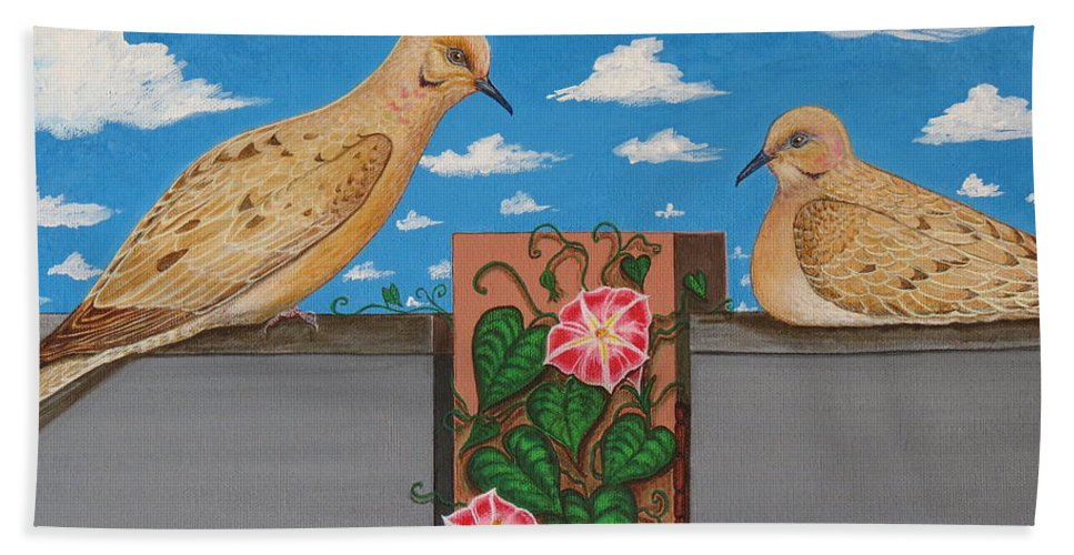 Mourning Doves Bath Sheet featuring the painting Love Is In Bloom by Aimee Mouw