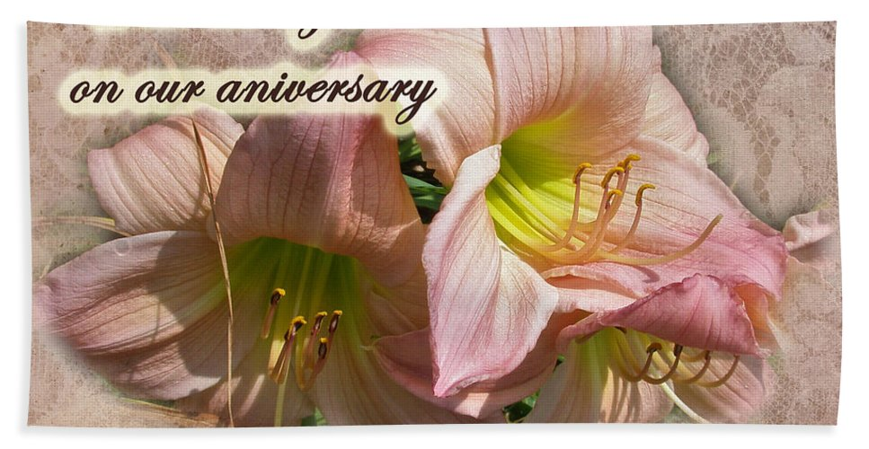Anniversary Hand Towel featuring the photograph Love On Anniversary - Lilies And Lace by Mother Nature