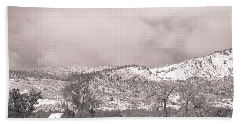 'low Clouds' Bath Sheet featuring the photograph Low Clouds On The Colorado Rocky Mountain Foothills 3 Bw by James BO Insogna