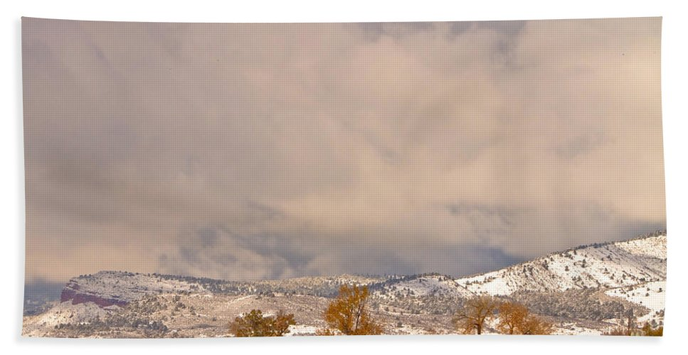 'low Clouds' Bath Sheet featuring the Low Winter Storm Clouds Colorado Rocky Mountain Foothills 5 by James BO Insogna