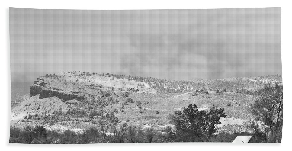 'low Clouds' Bath Sheet featuring the photograph Low Winter Storm Clouds Colorado Rocky Mountain Foothills 7 Bw by James BO Insogna