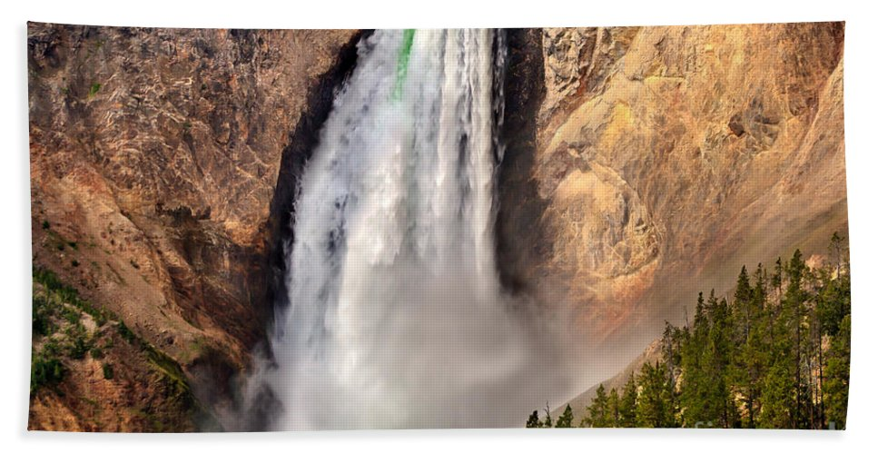 Scenic Bath Sheet featuring the photograph Lower Falls Of Yellowstone by Robert Bales