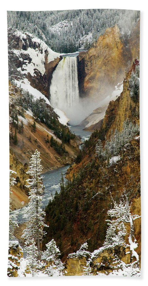 Yellowstone Bath Sheet featuring the photograph Lower Falls by Steve Stuller