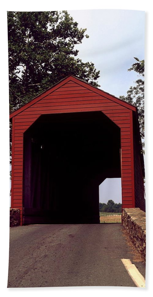 Loy's Station Covered Bridge Hand Towel featuring the photograph Loy's Station Covered Bridge by Sally Weigand