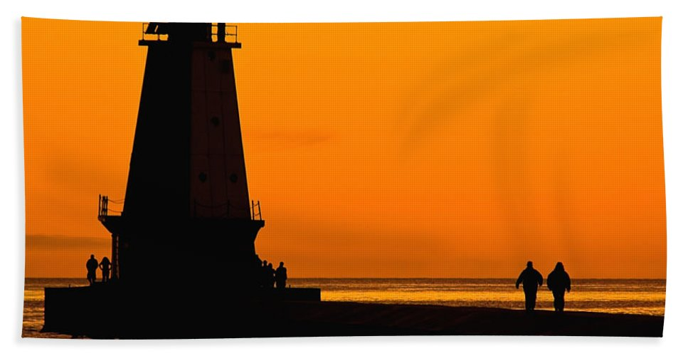 America Bath Sheet featuring the photograph Ludington Lighthouse by Nick Zelinsky