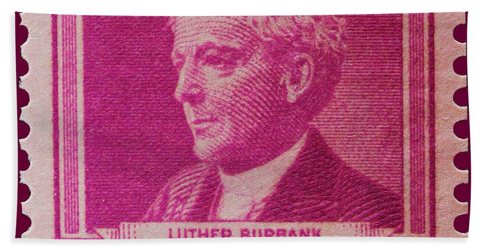 Luther Burbank Postage Stamp Bath Sheet featuring the photograph Luther Burbank Postage Stamp by James Hill