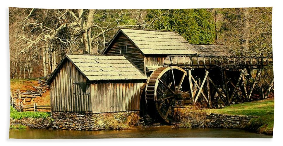 mabry Mill Bath Sheet featuring the photograph Mabry Mill In Winter by Myrna Bradshaw