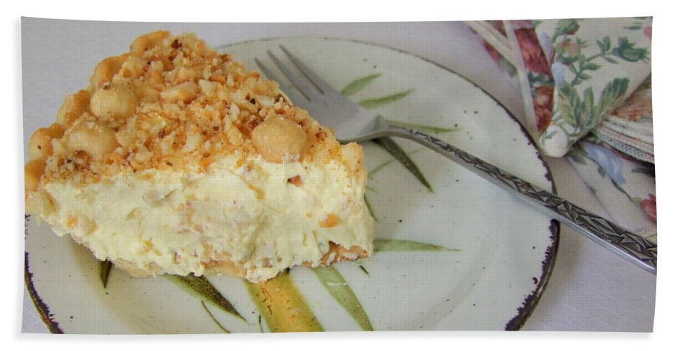 Pie Bath Sheet featuring the photograph Macadamia Nut Cream Pie Slice by Mary Deal