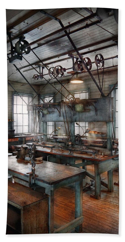 Machinist Bath Sheet featuring the photograph Machinist - Steampunk - The Contraption Room by Mike Savad