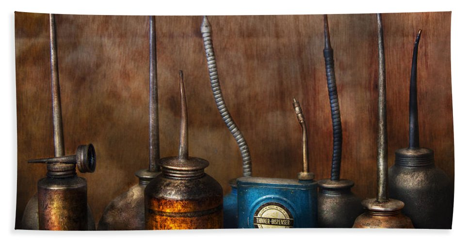 Machinst Bath Sheet featuring the photograph Machinist - Tools - Lubrication Dispensers by Mike Savad