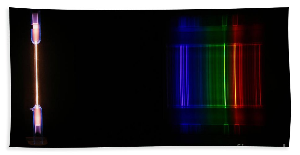 Atomic Hand Towel featuring the Macro Neon Spectra by Ted Kinsman