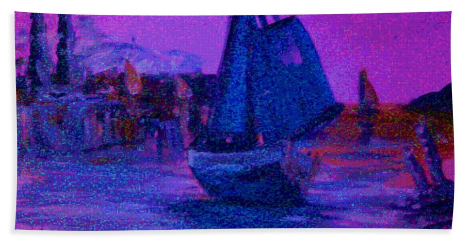 Boat Bath Sheet featuring the painting Magic Voyage by George Pedro