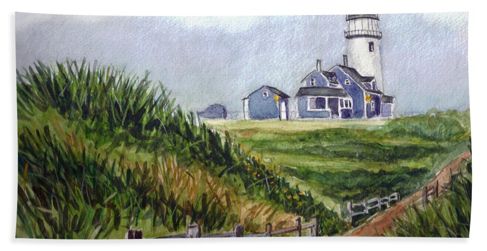 Light House Bath Sheet featuring the painting Maine Light by Clara Sue Beym