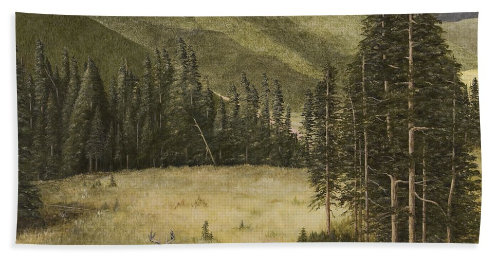 Deer Paintings Hand Towel featuring the painting Majesty In The Rockies by Mary Ann King