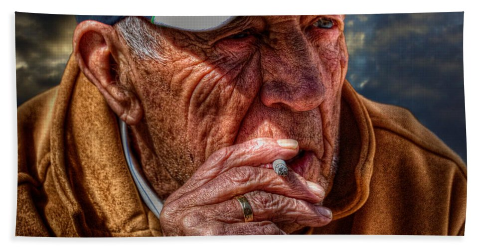 Acrylic Prints Hand Towel featuring the photograph Man Smoking by John Herzog