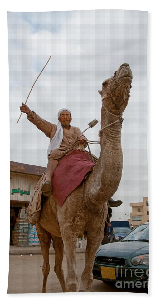 Africa Hand Towel featuring the digital art Man With His Camel by Carol Ailles