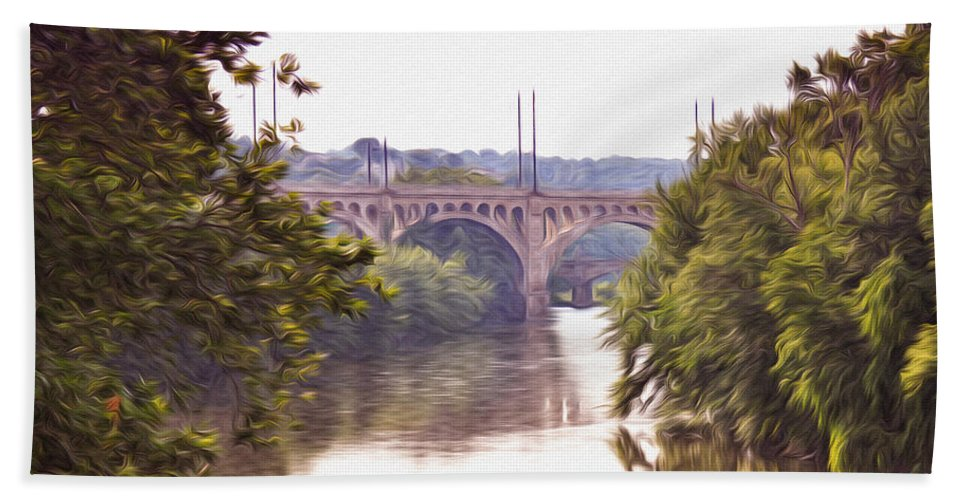 Manayunk Bridge Along The Schuylkill River Hand Towel featuring the photograph Manayunk Bridge Along The Schuylkill River by Bill Cannon