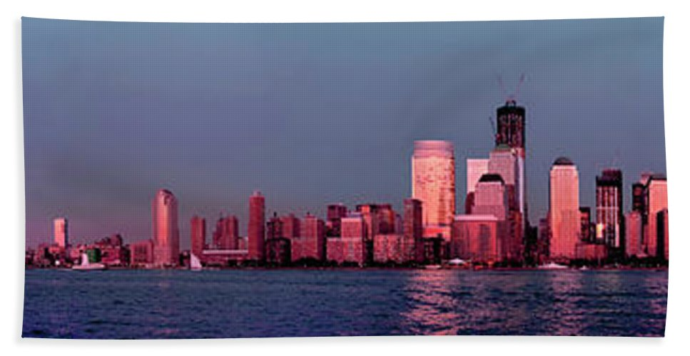 Panoramic Bath Sheet featuring the photograph Manhattan In Pink by S Paul Sahm