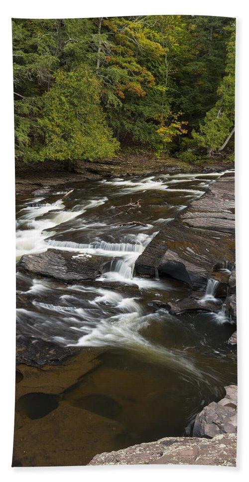 Manido Hand Towel featuring the photograph Manido Falls 6 by John Brueske