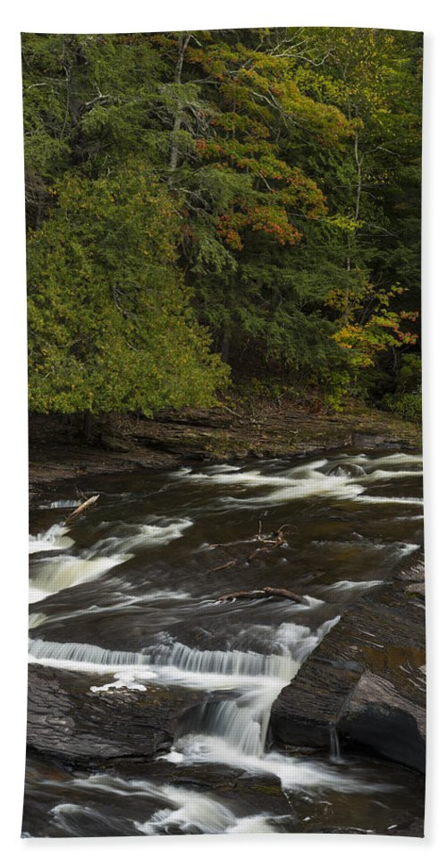 Manido Hand Towel featuring the photograph Manido Falls 7 by John Brueske
