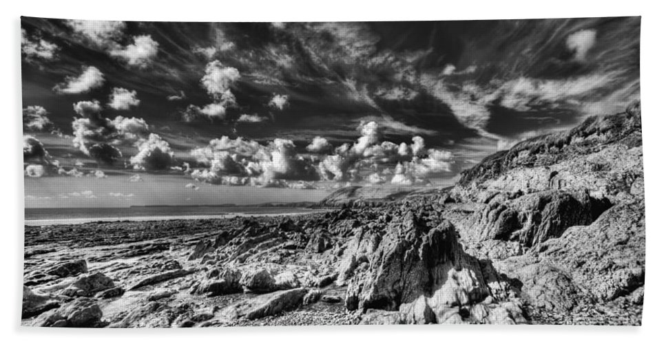 Manorbier Rocks Bath Sheet featuring the photograph Manorbier Rocks Too Mono by Steve Purnell