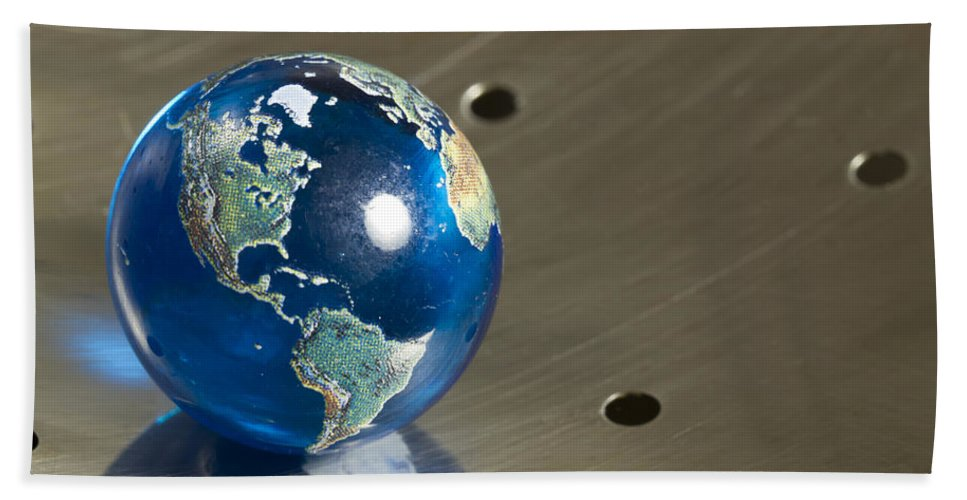 Photography Bath Sheet featuring the photograph Marble Earth 1 B by John Brueske