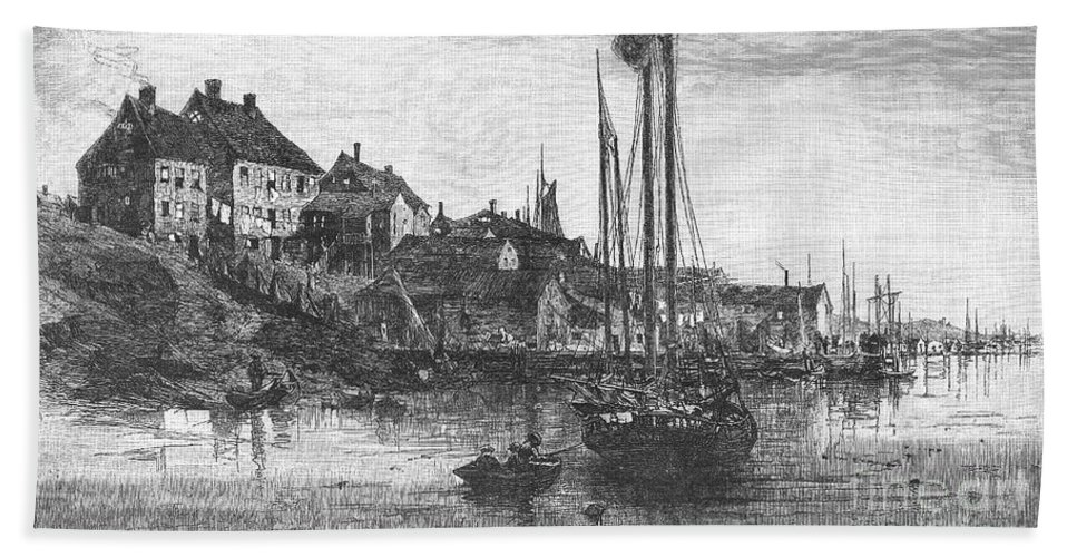 1882 Hand Towel featuring the photograph Marblehead: Fishing Boats by Granger