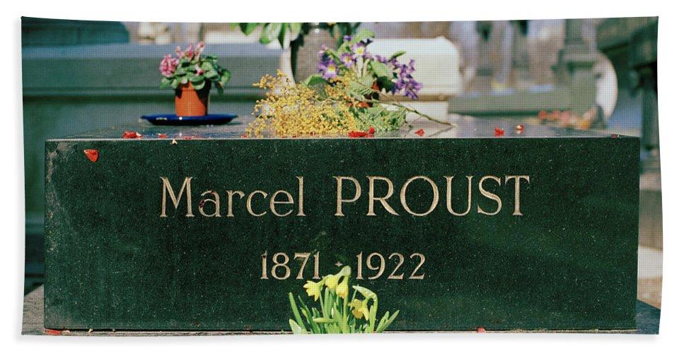 Pere Lachaise Bath Sheet featuring the photograph Proust by Shaun Higson