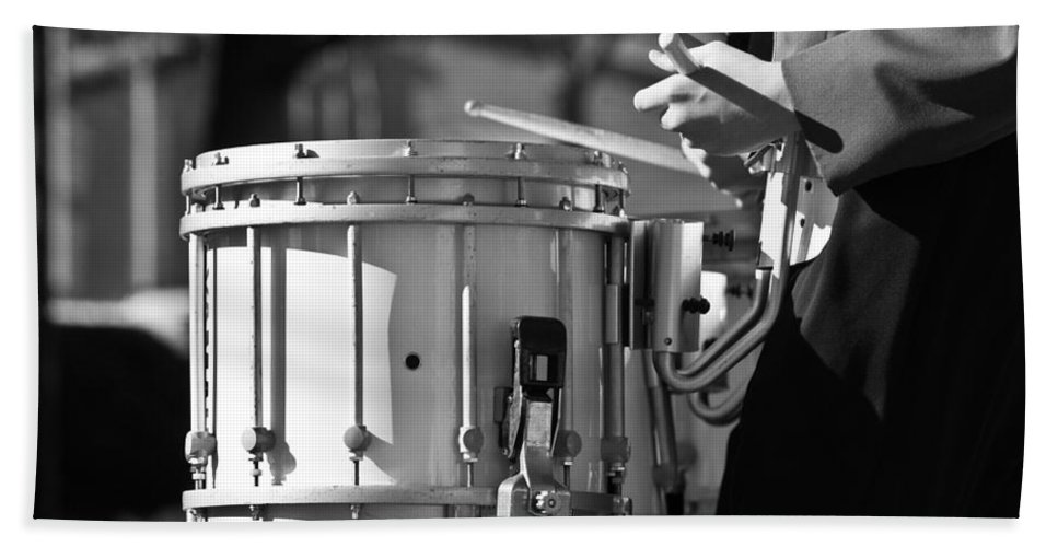 Cornet Bath Sheet featuring the photograph Marching Band Drummer Boy Bw by James BO Insogna